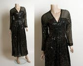 Vintage Victor Costa Sequin Dress - 1970s Black Sheer Nude Illusion Silver Sequined Gown - Glam Glamorous Hollywood - Floor Length - Small