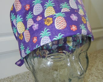Tie Back Surgical Scrub Hat with Pineapples Purple