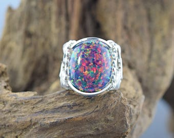 Sterling Silver Man Made Opal  Cabochon Wire Wrapped Ring