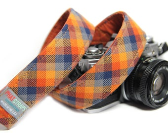 Orange Check Camera Strap - Orange and Navy Plaid, The Ranger