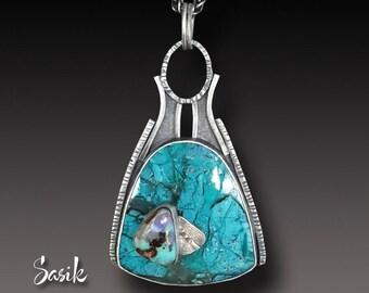 Chrysocolla Penadant Koroit Opal and Chrysocolla Necklace