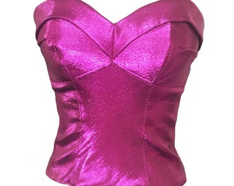 Scarlett Bustier in Metallic Pink Lame