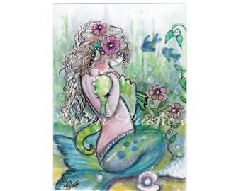 ACEO, Original, Little Mermaid with Sea Horse, cute