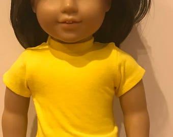 18 inch 15 inch doll shirt, American Doll, Girl doll, tee shirt, doll t-shirt, matching shirt, Yellow doll shirt