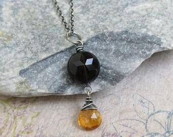 Citrine Necklace, Smoky Quartz Pendant, Oxidized Sterling Silver, Golden Yellow, Brown Gemstone, November Birthstone