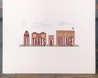 It Takes a Village letterpress print