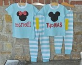 CLASSIC MOUSE Blue Stripe Pajama Pant Set - Personalized Monogram Pajamas - Custom Mouse Inspired Pajamas PJs - Julianne Originals
