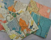 World Atlas - paper envelopes made from older Atlas book pages  - 1880-1900 Antique maps