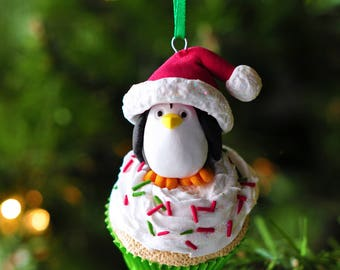 Handcrafted Clay Christmas Ornament - Santa Penguin Atop a Mini Cupcake - You Choose the Color