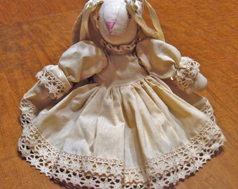 Country Rabbit Doll Ivory Dress with Ribbons