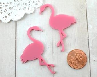 FLAMINGO CABS - 2 Bubblegum Pink Cabochons in Laser Cut Acrylic - Flat Back