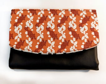 Foxes and Diamonds Boon Wallet in orange and black with vinyl detail, 8 card slots and coin purse
