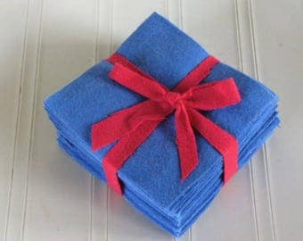 Solid ROYAL BLUE, FLANNEL Fabric Squares,  Rag Quilt, Traditional Quilting, pick size & quantity, We Cut You Sew