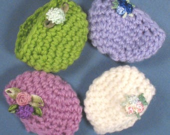 Mod Crocheted Caps Set of Four - White, Blue, Purple and Green