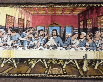 Vintage Tapestry The Last Supper JESUS Woven Tapestry Wall hanging Rug