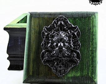 Wooden Trinket Box - Green Man - Black and Hunter Green - Victorian Gothic Style