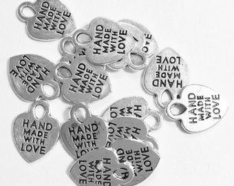 Bulk 200 pcs  antique silver 'made with love' charm 11x8mm, antique silver massage charm, alloy heart charm