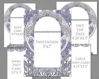 Wedding Invitation Template Graphics for Invite, RSVP, Save the Date, Info Cards - Gatsby Garden Purple Colors - Art Nouveau Frame Invite