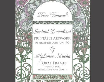 Art Nouveau Artwork for Wedding Invitations - Alphonse Mucha - JPG Instant Download - Plum and Green Garden Frame Template for Invitation