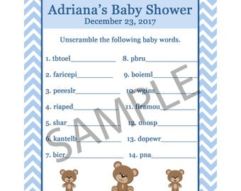 24 Personalized Baby Shower Word Scramble Game Cards - BLUE Teddy Bear - Baby Shower Game - Word Scramble- Teddy Bear Party