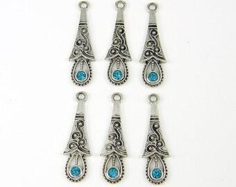 Aqua Silver Teardrop Earring Dangles, Aqua Rhinestone Earring Findings Antique Silver Drop Pendant Charms |B2-4|6