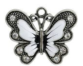 40% Retirement Closeout - White Butterfly, Silver Tone and Rhinestone Pendant, 34mm, 2 Pieces, 5PE96-0002
