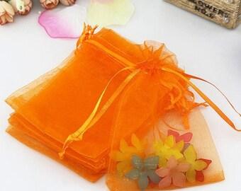 "30% Retirement Closeout - Organza Gift Bag, 3x4"", Orange, Drawstring Closure, 10 Bags, 3PO40-0037"