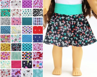 Fits like American Girl Doll Clothes - Skater Skirt, You Choose Print
