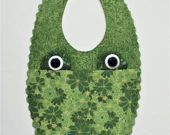 Baby Bib Green Alligator Motif