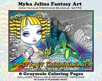 Grayscale Set 8 - Mermaids - Printable Coloring Book - Myka Jelina Art - Fairy Coloring Book - Instant Download - Siren Art - Sea Scape