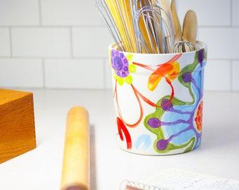 Great Utensil Holder Kitchen Utensil Holder Ceramic Utensil Holder Pottery Utensil  Holder Extra Large Colorful Whimsical Pottery