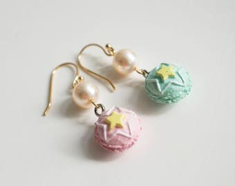 Pink and Green Star Macaroons, Kawaii Sweet Miniature Ear Jewelry. Gold Plated Lovely Mini French Desserts Swarovski Pearls For Her Earrings