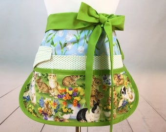 Bunny Half Vendor/Utility Sassy Apron, Womens Regular and Plus Sizes, 6/8 Pockets, great for Teachers, Gardening, Crafts