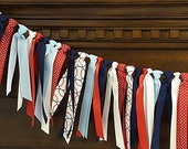 Red, Navy Blue and White Baseball Theme Ribbon Banner, Ribbon Garland, Highchair Garland, Home Decor, Photo Prop, or Backdrop READY TO SHIP