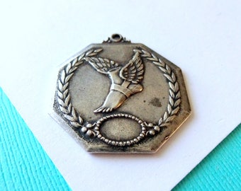 Art Deco Sterling Silver Track and Field Medal Fob Medallion