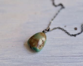 Green Turquoise Nugget Necklace - Arizona Turquoise Necklace - Oxidized Sterling Silver Necklace - Single Drop Pendant - Rustic Necklace