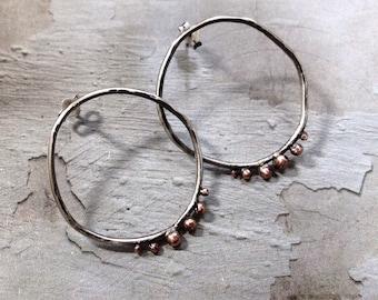 Sterling Silver Hoops - Copper Ball Earrings - Mixed Metal Earrings - Silver Copper Earrings - Rustic Hoops - Metalwork Earrings
