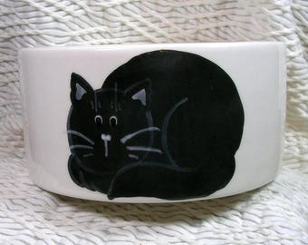 Black Cat Medium Cat Bowl with Paw Prints Inside 20 Oz. Ceramic by Gracie