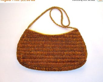 30% MOVING SALE Vintage beaded handbag / GOLD caramel coppery sparkly beads / evening purse / romantic date night clutch