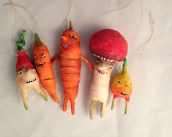 Spun cotton vegetable ornaments set by maria paula