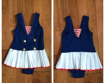 Vintage 60s nautical style swimsuit one piece bathingsuit sailor swimsuit