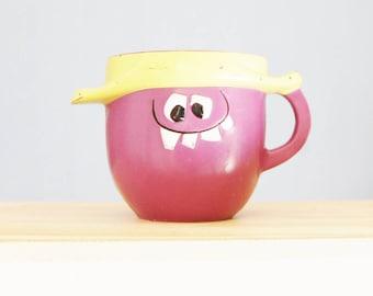 Vintage Funny Face Mug Goofy Grape Pillsbury 1969 Kool Aid Cup 70s Purple Plastic