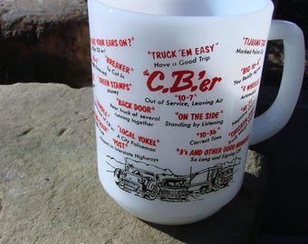 Vintage Fire King Coffee Mug or Cup with CB Trucker Lingo Milk Glass