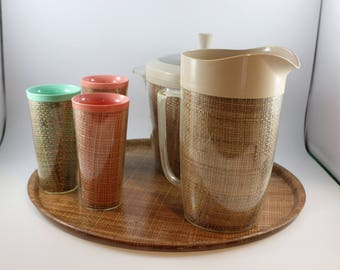 Vintage 1960's Era Raffia Ware by Thermo Temp Insulated Melamine Beverage Set