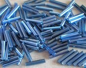 Blue Art Glass Size 5 Bugle Beads For Beaded Jewelry Making Beadwork