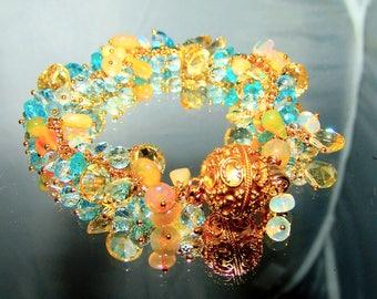 Concave Cut 10mm  Citrine Honey Opal Blue Topaz Apatite Briolette Gemstone Cluster Bracelet