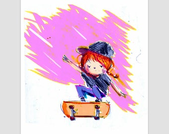 Sk8 giclee print, illustration, wall art
