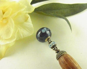 Blue Swirls Lampwork Hair Stick