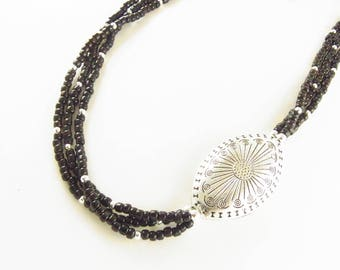 Black Beaded 3 Strand Necklace with Silver Concho