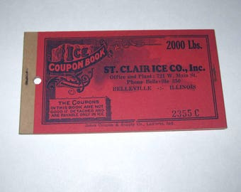Vintage 1940s Ice Coupon Book From St. Clair Ice Co. Belleville, Illinois